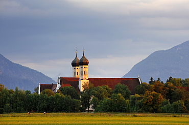 Kloster Benediktbeuern monastery in the evening light, district of Bad Toelz-Wolfratshausen, Bavaria, Germany, Europe