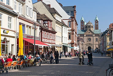 Pedestrian zone in front of Speyer Cathedral, Maximilian street, Speyer, Rhineland-Palatinate, Germany, Europe