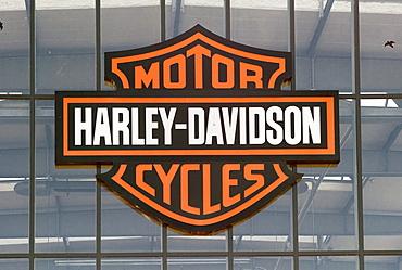 Harley Davidson Factory Frankfurt, official Harley Davidson dealer, Harley Davidson corporate logo, Frankfurt, Hessen Germany, Europe