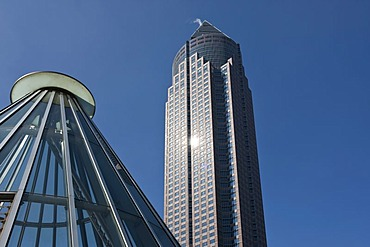 Entrance to the subway station in front of the Messeturm tower, Friedrich-Ebert-Anlage street, Frankfurt am Main, Hesse, Germany, Europe