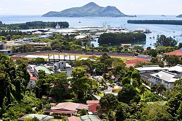 View from Bel Air towards the capital city of Victoria and the stadium, at back the islands St. Anne, Ile au Cerf, Ile Moyenne, Ile Ronde and Ile Longue, Mahe Island, Seychelles, Indian Ocean, Africa