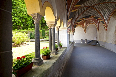 The The abbey of Sayn with cloister, Sayn, Koblenz, Rhineland-Palatinate, Germany, Europe
