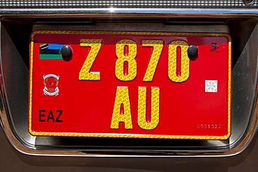Car number plate, Zanzibar, Tanzania, Africa