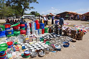 Market primarily for plastic items near the capital, Zanzibar, Tanzania, Africa