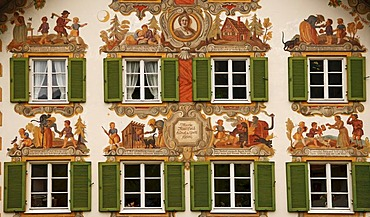 Lueftl Malerei, traditional mural painting on the side of Hansel und Gretel house, Oberammergau, Upper Bavaria, Germany, Europe