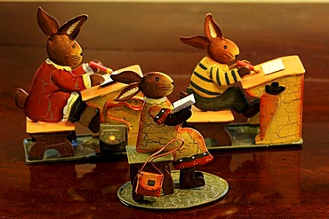 Rabbit school, three rabbits sitting behind tables, made of metal, table decoration, Villa Ambiente, Nuremberg, Middle Franconia, Bavaria, Germany, Europe