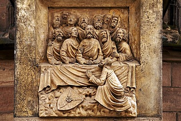 Old stone carving of the Last supper on Sebaldus Church, Nuremberg, Middle Franconia, Germany, Europe