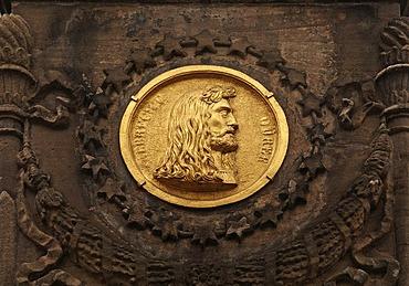 Portrait of Albrecht Duerer on golden relief plate, Nuremberg, Middle Franconia, Germany, Europe