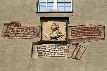 Portrait of Don Juan and names of famous guests on the Goldenes Kreuz restaurant, Regensburg, Upper Palatinate, Bavaria, Germany, Europe