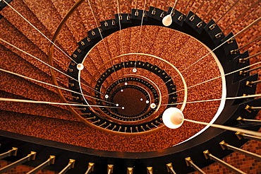 Staircase from the top down, from the 1950s, Hamburg, Germany, Europe