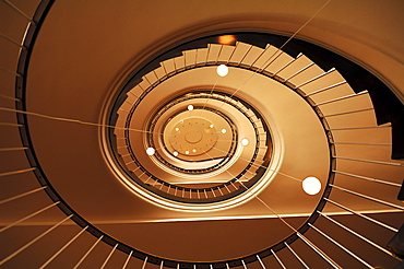 Staircase from the bottom up, from the 1950's, Hamburg, Germany, Europe