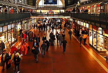 People in motion at the central station, Hamburg, Germany, Europe