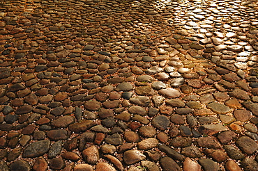 Old cobbled streets in the old town, Lueneburg, Lower Saxony, Germany, Europe