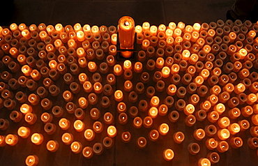 Votive candles in the Church of Our Lady, Dresden, Saxony, Germany, Europe