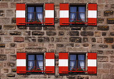 Red and white shutters on the old Hersbrucker Tor, Hersbruck gate, Lauf an der Pegnitz, Middle Franconia, Bavaria, Germany, Europe