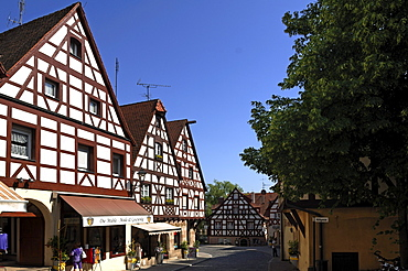 Street with old Franconian half-timbered houses, Lauf an der Pegnitz, Middle Franconia, Bavaria, Germany, Europe
