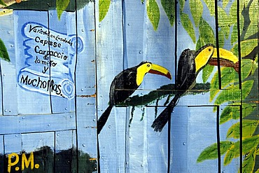 Mural with toucans, advertisement for a restaurant in Quepos, Costa Rica, Pacific Ocean, Central America
