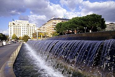 Fountain at the Centro Cultural de la Villa de Madrid, Plaza de Colon, Madrid, Spain, Europe
