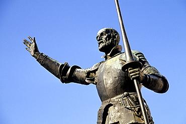 Monumento de Cervantes, Cervantes monument with a sculpture of Don Quixote on the Plaza de Espana, Madrid, Spain, Europe