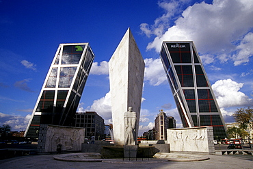 Modern towers and sculpture at the end of the Paseo de la Castellana, Torres Kio, Puerta de Europa, Plaza de Castilla, Madrid, Spain, Europe