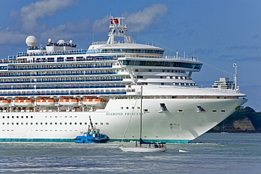 Diamond Princess cruise ship in the port of Auckland, North Island, New Zealand