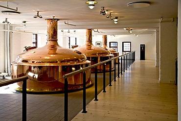 Copper beer brewing tanks at Carlsberg brewery, Copenhagen, Denmark, Europe