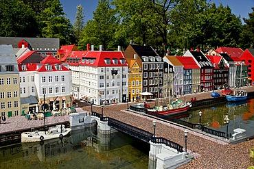 Lego bricks model of Nyhavn Copenhagen at Legoland park, Denmark