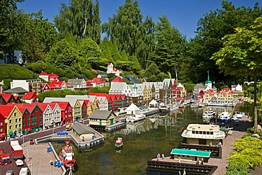 The harbourside of Bergen made from lego bricks, Legoland, Denmark