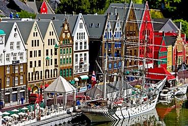 The harbourside of Bergen in Norway made from lego bricks, Legoland, Denmark