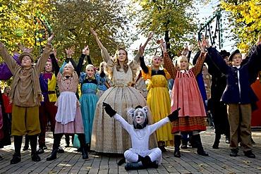The Adventure theatre company performing in Tivoli, Copenhagen, Denmark