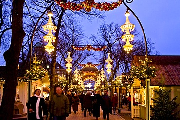 Christmas decorated main street in Tivoli, Copenhagen, Denmark