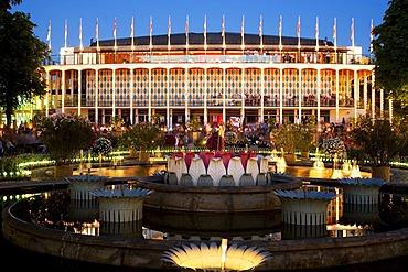 The Concert Hall by night in Tivoli, Copenhagen, Denmark