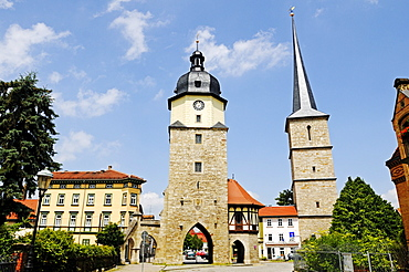 Historic city gate next to Riedturm Tower and the tower of St Jakobus pilgrimage church, Riedplatz Square, Arnstadt, Thuringia, Germany, Europe