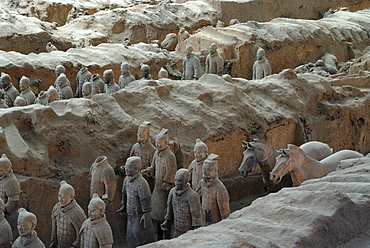 Terracotta army, part of the burial site, hall 1, mausoleum of the 1st Emperor Qin Shihuangdi in Xi'an, Shaanxi Province, China, Asia