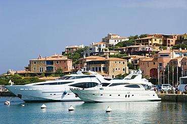 Motor yacht in the harbor, Porto Cervo, Costa Smeralda, Sardinia, Italy, Europe