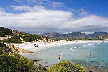 Sandy beach, panorama, bay, coast, Porto Giunco Playa, Villasimius, Sardinia, Italy, Europe