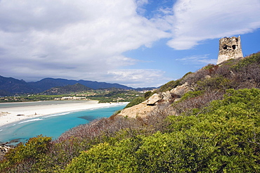 Beach, panorama, bay, coast, Saracen tower, Porto Giunco Playa, Villasimius, Sardinia, Italy, Europe