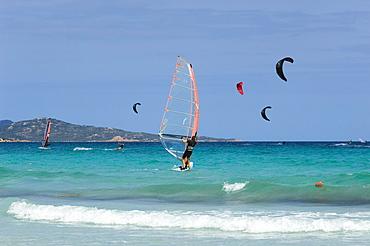 Kitesurfing, windsurfing, San Teodoro, Sardinia, Italy, Europe
