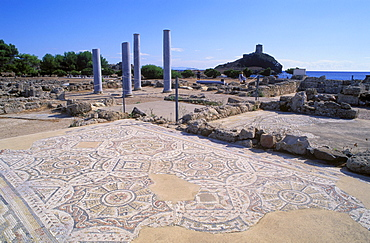 Ruins of a Roman villa, nobility, Nora near Pula, Sardinia, Italy, Europe