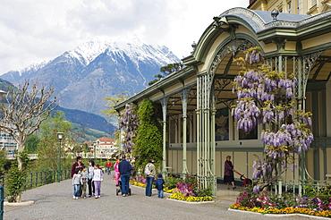 Art Nouveau gallery, winter promenade, Merano, Trentino, Alto Adige, Italy, Europe