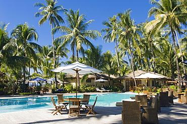 Hotel pool, palm trees, Ngapali Beach, Thandwe, Rakhine Coast, Bay of Bengal, Burma, Myanmar, Asia