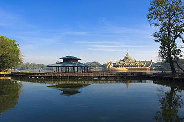 Karaweik restaurant, dragon boat, Kandawgyi Lake, Rangoon, Yangon, Burma, Myanmar, Asia