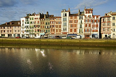 Nive river in the city of Bayonne, Basque Country, France