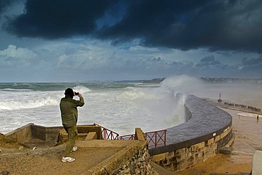 """Waves breaking on Socoa dyke during storm """"Klaus"""", Basque Country, France"""