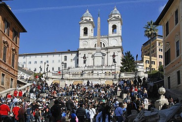 Obelisk, Santa Trinita dei Monti Church, Spanish Steps, lots of people, historic centre, Rome, Italy