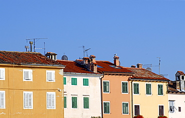 Colourful facades of venetian-style houses in picturesque town of Rovinj in Istria, Croatia, Europe