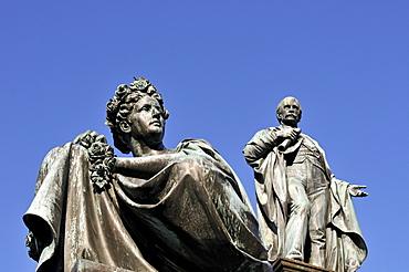 Female figure representing River Mur and statue of Archduke Johann, main square, Graz, Styria, Austria, Europe
