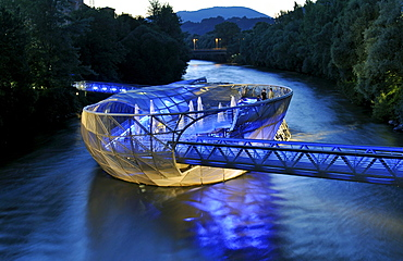 Futuristic shell-shaped artificial Murinsel, Mur Island, with steel dome and footbridges, designed by Vito Acconci, Graz, Styria, Austria, Europe