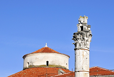 Detail of Roman column and dome of St. Donat Church, Crkva svetog Donata, in Zadar, Dalmatia, Croatia, Europe