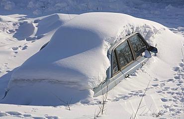Snowed in Volvo car, Kiruna, Lappland, Northern Sweden